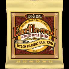 Corzi chitara clasica Ernie Ball Earthwood Folk Nylon Clear & Gold Ball End