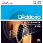 Corzi chitara acustica 12 corzi D'Addario EJ36 80/20 Bronze