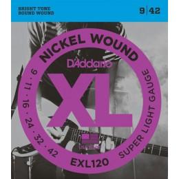 Corzi chitara electrica D'Addario EXL120 Nickel Wound